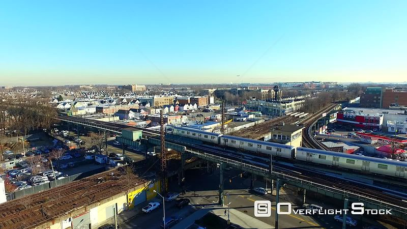 Elevated Commuter Train Ozone Park Queens New York City