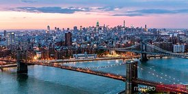 Aerial panoramic of Midtown Manhattan at dusk, New York city, USA