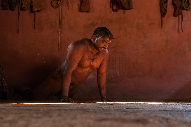 Kushti Wrestler doing Pushups During a Training Session