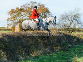 Stephen Rayns jumping a hedge at Barrowcliffe Farm 18/11