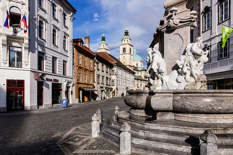 Fountain of the Three Carniolan Rivers in front of the Ljubljana Town Hall, Francesco Robba (1698-1757)