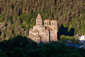 Saint nectaire romanesque church at sunrise