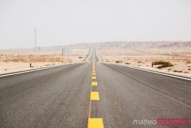 Highway through the desert near Dunhuang, China