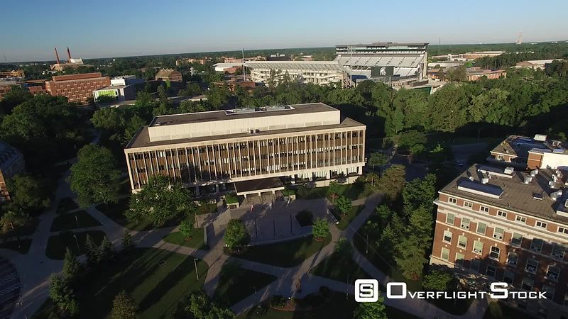 Drone Video of Michigan State University at East Lansing. Office of the Registrar and Spartan Satdium