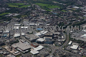 Bury aerial photograph of Bury Mill Gate and the Rock shopping centre in the Bury town centre