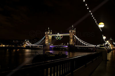 Tower Bridge with the Olympic Rings at Night