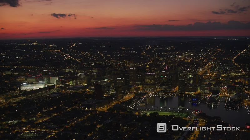 Baltimore, Maryland Aerial view of Baltimore at sunset.  Shot with Cineflex and RED EpicW Helium.