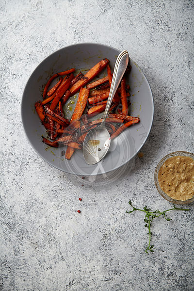 Flatlay image with roasted caramelized carrots