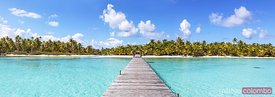 Panoramic of jetty to tropical island, Tikehau atoll, French Polynesia