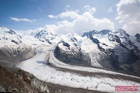 Monte Rosa glacier and peaks, Gornergrat, Zermatt, Switzerland
