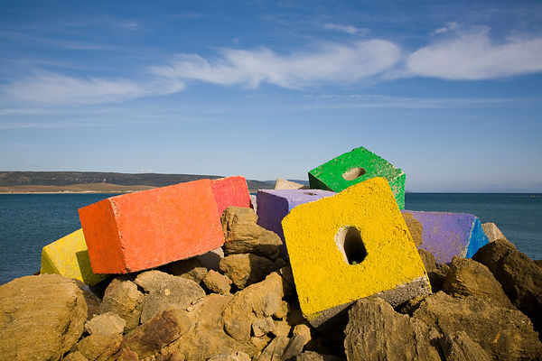 Coloured concrete blocks