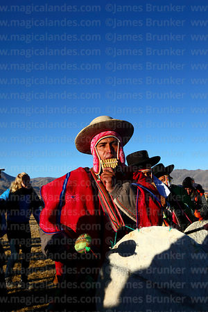 Sicuris musicians playing sicus (panpipe or zampoña) during Aymara New Year celebrations, Tiwanaku, Bolivia