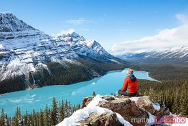 Man looking at Peyto lake in autumn, Canada
