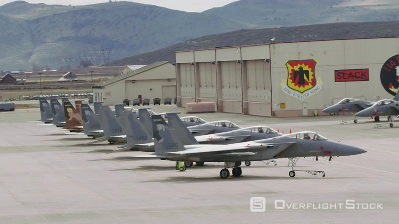 Aerial view of F15 fighter jets at Crater LakeKlamath Regional Airport