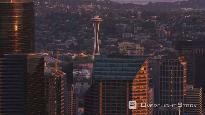 Seattle, Washington Aerial view of Seattle and Space Needle at sunrise.  Shot with Cineflex and RED EpicW Helium.