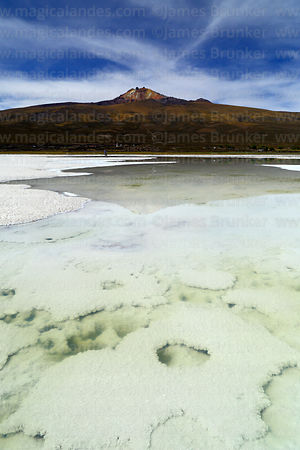 Salt formations on bottom of saline pool and Tunupa volcano, Salar de Uyuni, Bolivia