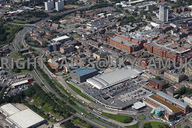Oldham aerial photograph of Oldham town centre and Sainsburys Supermarket and the University Campus Cromwell Street and Union Street and the Oldham Way