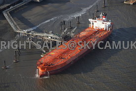 Birkenhead aerial photograph of Bergina Oil Products Tanker berthed at the ESSAR Tranmere Oil Terminal on the River Mersey