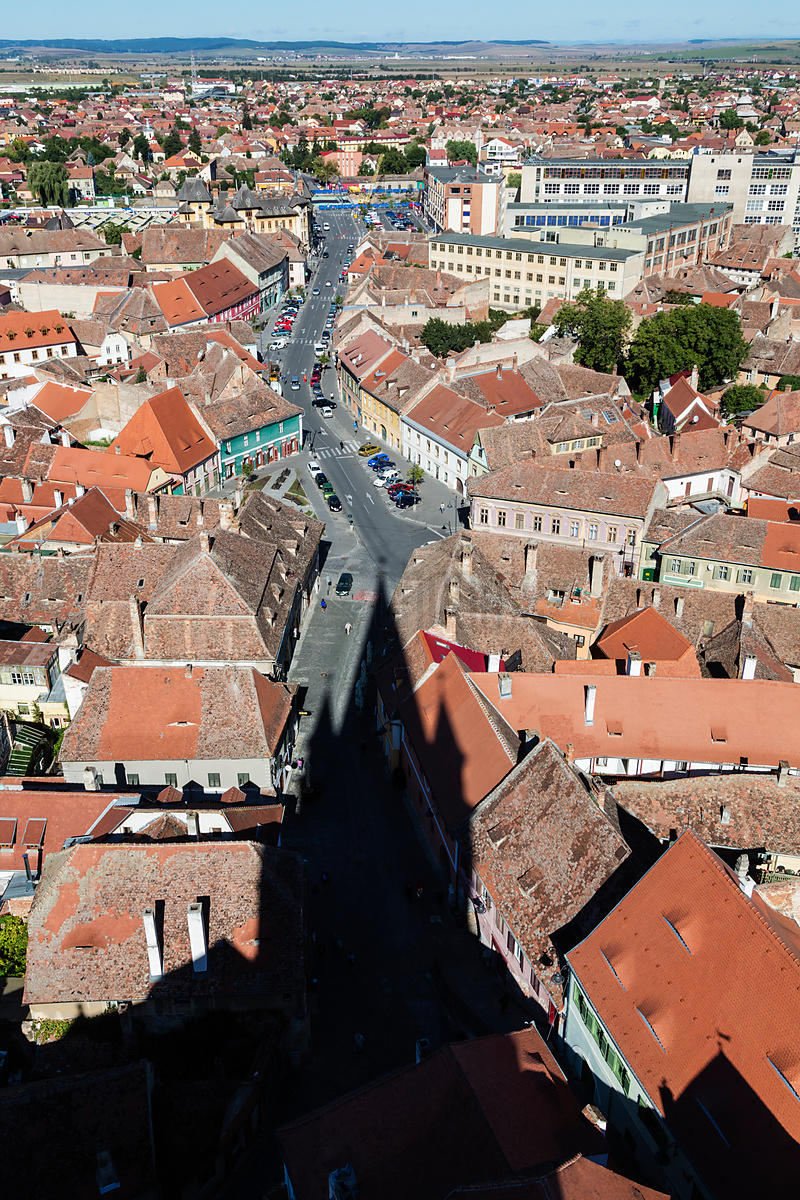 Elevated View of Sibiu and the Shadow of the Protestant Church of the German Saxon minority