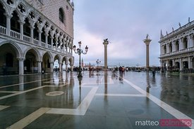Acqua alta (high tide) in St Marks square, Venice, Italy