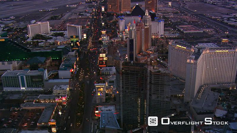 Flying south above Las Vegas Boulevard at dusk.