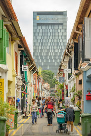 SINGAPORE CITY, SINGAPORE - OCTOBER 08, 2016:  Haji Lane is a popular place for tourists.  It has lots of stores with various souvenir shops, fashion boutiques, cafes, and hip restaurants of Singapore.