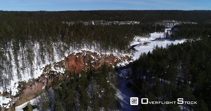 Finnish rapids, aerial drone view over kiutakongas rapid, in the nature of Oulanka national park, on a sunny winter day, in Kuusamo, PohjoisPohjanmaa, Finland