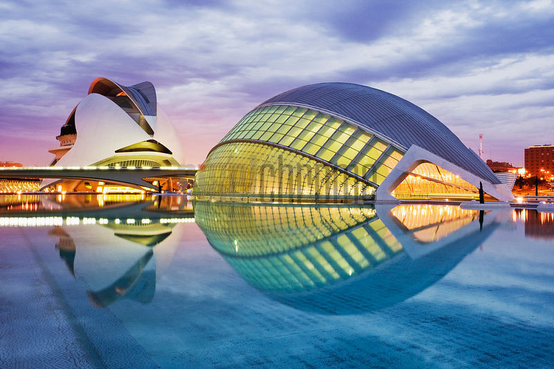City of the Arts and Sciences by Santiago Calatrava Hemisferic (right) Palacio de las Artes (left) Valencia Spain
