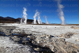Mineral / salt deposits and stream at El Tatio geyser field, Region II, Chile