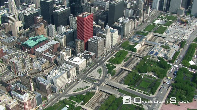 Flying over Chicago's Grant Park and the Loop.