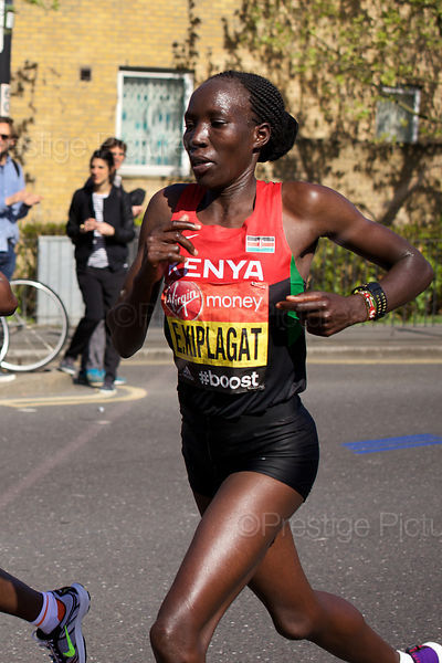 Edna Kiplagat (1st) of Kenya won the Elite Womens Event at the 2014 Virgin London Marathon