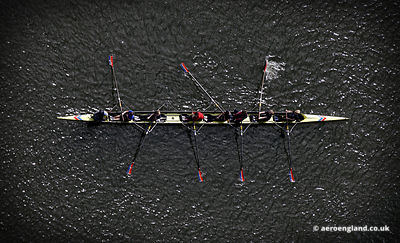 aerial photograph of rowing boat on Edgbaston reservoir Birmingahm UK