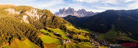 Panoramic of Funes valley in autumn, Dolomites, Italy