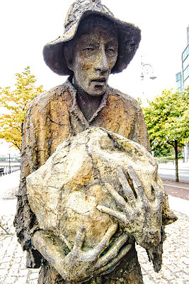 Famine Memorial, Man Carrying Bag- Dublin, Ireland,