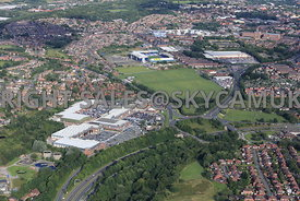 Elk Mill Centre Retail Park Royton and Oldham Football Club  Oldham