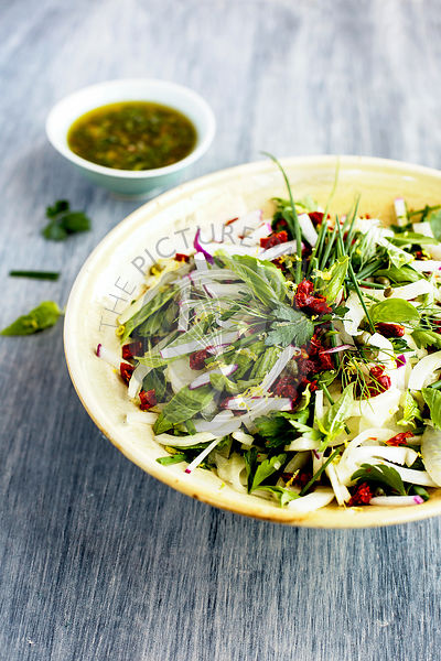 Fennel Herb Salad with Italian Style Salsa Verde.