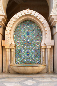 Fountain at the Hassan II Mosque, Casablanca, Morocco; Portrait