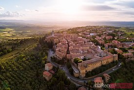 Aerial sunset over Pienza, Val d'Orcia, Tuscany, Italy