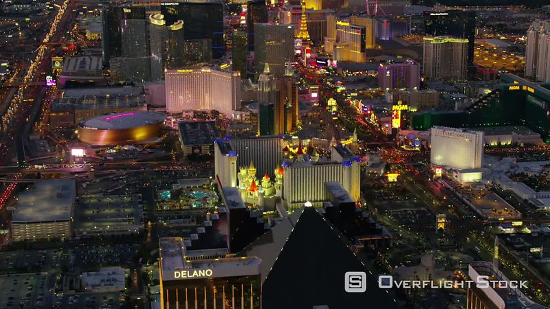 Las Vegas, Nevada Aerial view of Las Vegas Strip at night.  Shot with Cineflex and RED EpicW Helium.