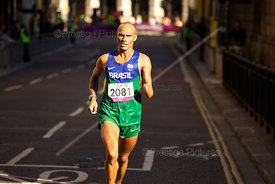 Ozivam Bonfim of Brazil ran though the City of London in the T46 London 2012 Marathon