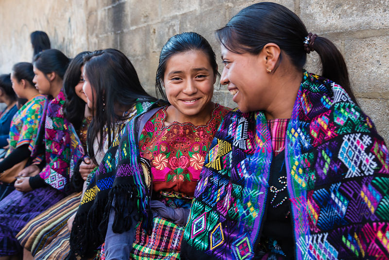 Portrait of Young Women in Traditional Dress at Semana Santa Procession