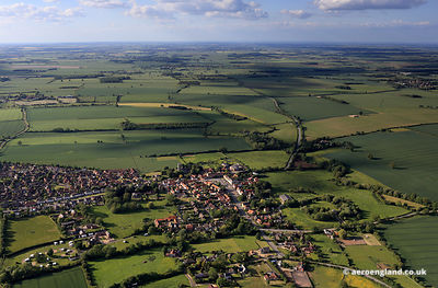 aerial photograph of Folkingham Lincolnshire England UK