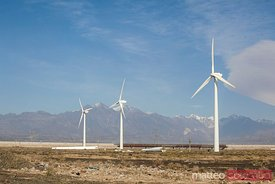Wind power turbines in Xinjiang, China