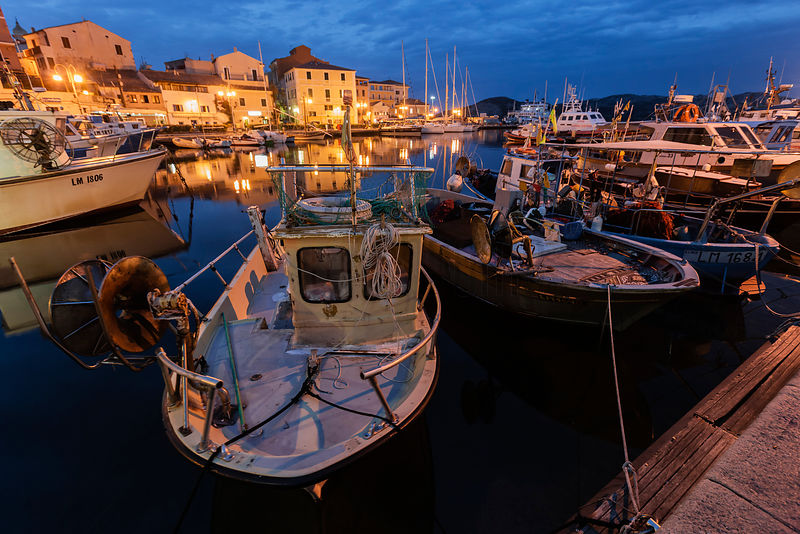Fishing Boats in the Commercial Port in La Maddelana at Dusk