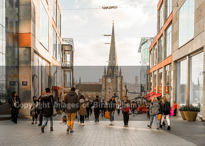 The Bullring Shopping Centre, Birmingham, with St. Martins Church.