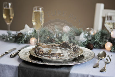 Holiday celebration table setting. White, gold and silver christmas table setting
