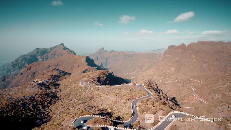 Curved roads nearby Masca, Tenerife, filmed by drone, Canary Islands