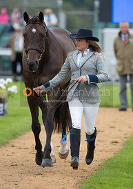 Hannah S Burnett and UNDER SUSPECTION at the trot up, Land Rover Burghley Horse Trials 2017