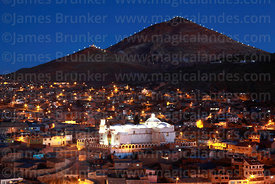 View of Cerro Rico and San Benito church at night, Potosí, Bolivia