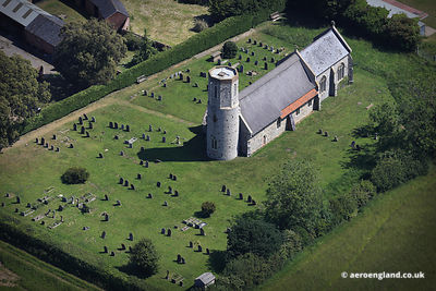 aerial photograph of St Mary's Church  West Somerton Norfolk England  UK